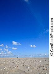 A blue clear sky with beach and ocean
