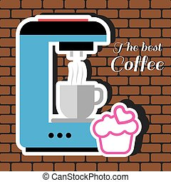 A blue coffee maker machine with a