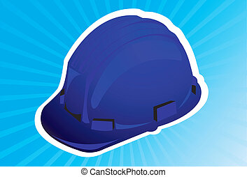 hard hat  - A blue colour hard hat in blue radiant light
