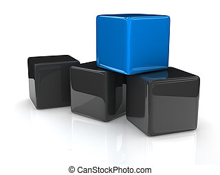 blue cube - a blue cube placed observably in a group of gray...