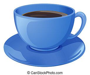 A blue cup with coffee