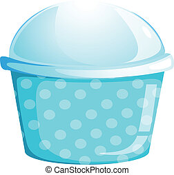 A blue cupcake container