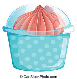 A blue cupcake container with a cupcake