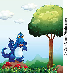 A blue dragon at the forest standing above the rock