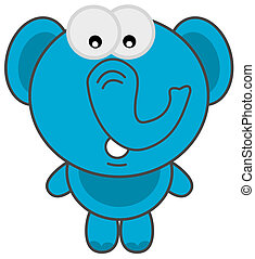 a blue elephant standing