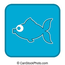 a blue fish icon in the form of a button