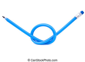 A blue flexible pencil tied in a knot over white background