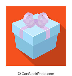 A blue gift box with a bow. Gifts and Certificates single icon in flat style bitmap symbol stock illustration.