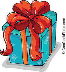 A blue gift with a red ribbon