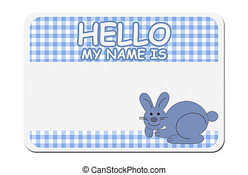 A blue gingham hello my name is tag isolated over white, Naming your baby boy