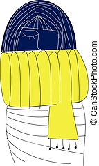 A blue girl wearing a yellow scarf looks beautiful vector or color illustration