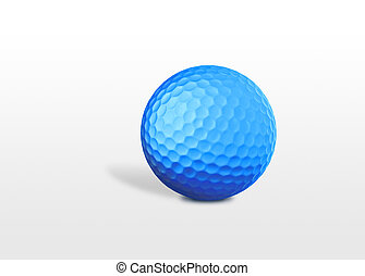 a blue golf ball isolated on white background
