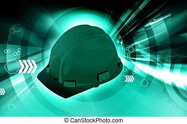 A blue hard hat - A colour hard hat in blue radiant light
