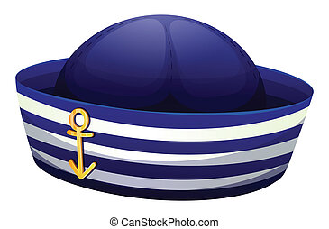 Illustration of a blue hat with an anchor on a white background