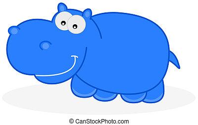 a blue hippo
