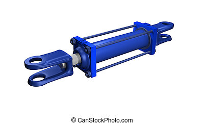 a blue hydraulic cylinder isolated on white