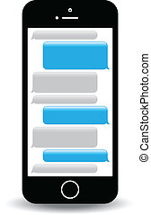 text messaging - a blue mobile phone text messaging screen
