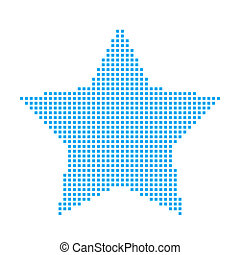 Blue Mosaic Icon Isolated on a White Background - 5 Pointed Star