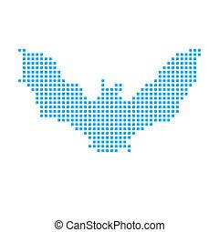 Blue Mosaic Icon Isolated on a White Background - Bat