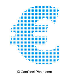Blue Mosaic Icon Isolated on a White Background - Euro Sign