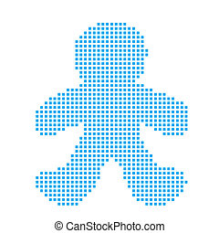 Blue Mosaic Icon Isolated on a White Background - Gingerbread Man