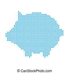 Blue Mosaic Icon Isolated on a White Background - Piggy Bank