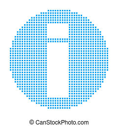 Blue Mosaic Icon Isolated on a White Background - Round Info