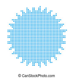 Blue Mosaic Icon Isolated on a White Background - Spikey Circle