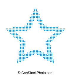Blue Mosaic Icon Isolated on a White Background - Star