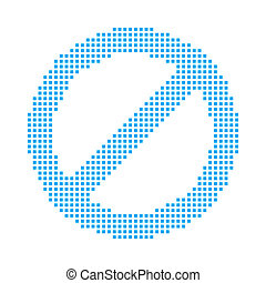 Blue Mosaic Icon Isolated on a White Background - Stop Sign