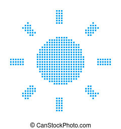 Blue Mosaic Icon Isolated on a White Background - Sun