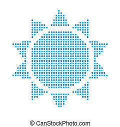 Blue Mosaic Icon Isolated on a White Background - Sunshine