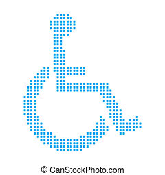 Blue Mosaic Icon Isolated on a White Background - Wheelchair