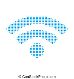 Blue Mosaic Icon Isolated on a White Background - Wifi