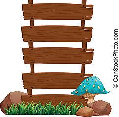 A blue mushroom beside the empty wooden boards