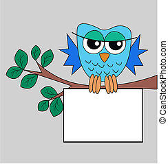 a blue owl holding a sign