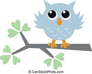 a blue owl baby shower boy