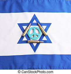 peace sign - A blue peace sign on israel flag with 5.56mm...