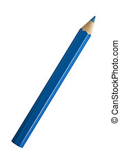A Blue Pencil - A blue pencil isolated on white