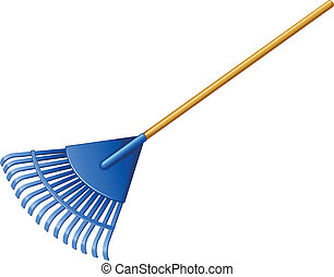 Illustration of a blue rake on a white background