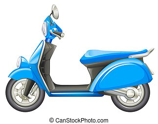 A blue scooter - Illustration of a blue scooter on a white ...