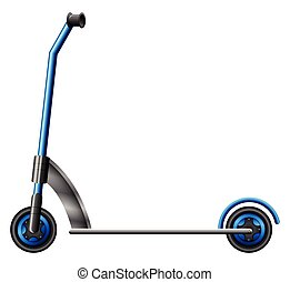 A blue scooter on a white background