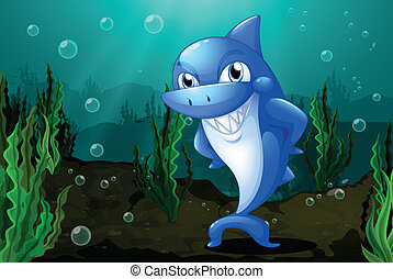 A blue shark under the sea - Illustration of a blue shark...