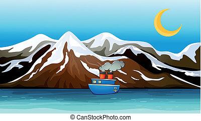A blue ship near the mountain