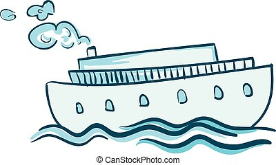A blue steam ship vector or color illustration