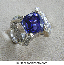 blue stone ring - A blue stone ring.