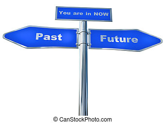 A blue street sign to the Past and Future and Now