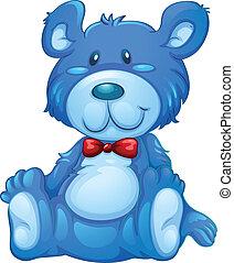 A blue teddy bear