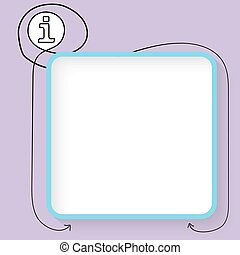 A blue text box and black info symbol