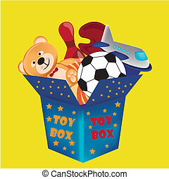 toy box - a blue toy box with a lot of toys inside it